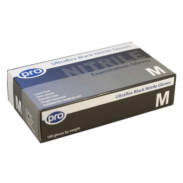 Ultraflex Black Nitrile Gloves (Powder Free) - Box of 100