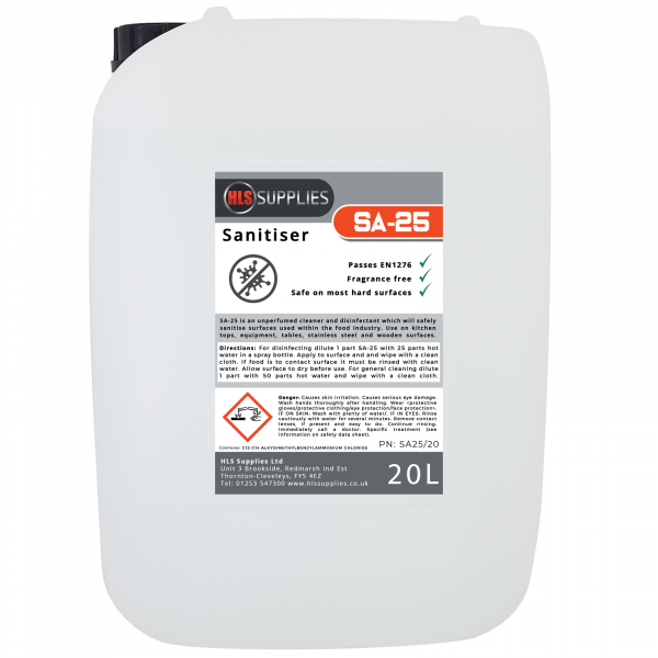 HLS SA-25 Sanitiser - Unperfumed Cleaner Sanitiser 20L