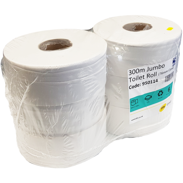 Maxi Jumbo Toilet Roll 300m x 76mm Core ...